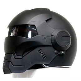 Wholesale Xl Full Face Motorcycle Helmet - 2016 Top hot Black MASEI IRONMAN Iron Man helmet motorcycle helmet half helmet open face casque motocross 610 SIZE:M L XL XXL