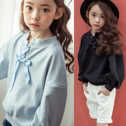 Wholesale Korean Hoodie Sweater Fashion - 2017 New Spring Autumn Fashion Korean Girls Clothes Children T Shirts Girls Shirt Short Sleeve sweet Sweater Hoodie Hoody kids Tops A165