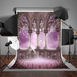 Wholesale Backdrop Fantasy - SUSU Pink Background Family Pink Balcony Flowers Photography Backdrops 5x7ft(150x220cm) Fantasy Stars Fairy Tale Dream Studio Backgrounds