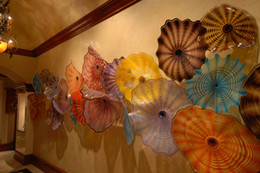 Wholesale Decorative Flowers Prices - 100% Mouth Blown Borosilicate Glass Plates Best Price High Qualtiy Dale Chihuly Style Murano Flower Glass Art Decorative Hanging Wall Plates