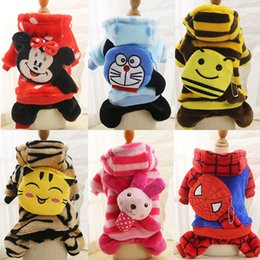 Wholesale Dogs Jumpsuit Fleece - New Fashion Soft Fleece Dog Clothes Warm Pet Costume Winter Dogs Coat Autumn Hoody Four Legs Jumpsuit Clothing for Teddy Chihuahua