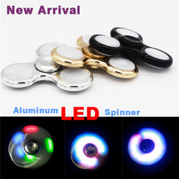 Wholesale Wholesale Flashing Light Pins - Aluminum 3 Pins LED Flash Light Hand Spinner LED Fidget Spinner Finger Fingertip triangle Tri Spinner Handspinner Fidget Toys L029