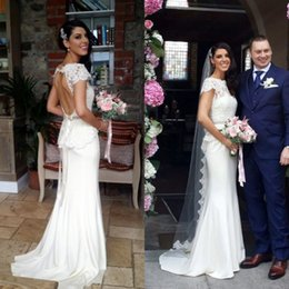 Wholesale Short Peplum Bridal Dresses - Sexy Sheath Mermaid Wedding Dress Country Style Sheer Lace Neck Capped Short Sleeves Backless Bridal Gowns with Peplum Beaded Sash