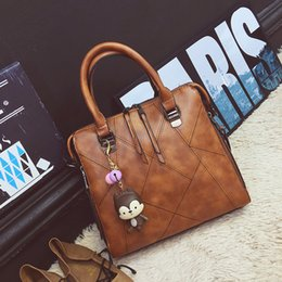 Wholesale Cattle Brands - Wholesale- Fashion patchwork designer cattle split leather bags women handbag brand high quality ladies shoulder bags women bag 738