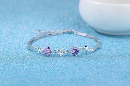 Bracelet en diamant améthyste en Ligne-2017 925 argent femmes bracelets diamant cuir wrap bracelet Double cœur améthyste cadeau d'anniversaire 83
