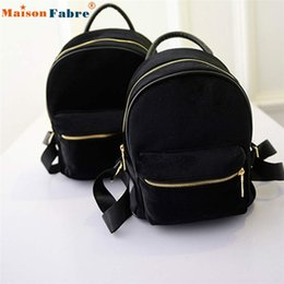Wholesale Wholesale Small Velvet Bags - Wholesale- High quality Women Gold Velvet Small Rucksack Backpack School Book Shoulder Bag