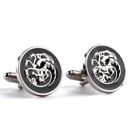 Wholesale Song Ice - Song of Ice and Fire Game of Thrones Silver French Men Alloy Enamel Cufflinks Shirts Alloy Cuff Links For Gift