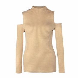 Wholesale Turtleneck Wholesaler - Wholesale- Autumn Women Casual Long Sleeve Sweater Turtleneck Off Shoulder Solid Color Slim Soft Knitted Tops