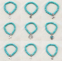 Wholesale Tree Pendant For Men - 2017 Bohemian Blue Beads Love Bracelet Men Femme Vintage Charm Bracelets & Bangles for Women Tree Snake Owl Pendants Bracelet Jewelry
