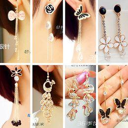 Wholesale Long Diamond Earrings Wedding - girl jewelry South Korea pearl sweet flowers temperament long fringe earrings earrings earrings Korean female fashion accessories