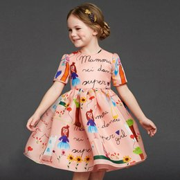 Wholesale Baby Girl Designer Clothes - New 2016 designer girl autumn&winter style Half sleeve cotton cartoon dress kids Skirt warm clothes baby children princess dresses