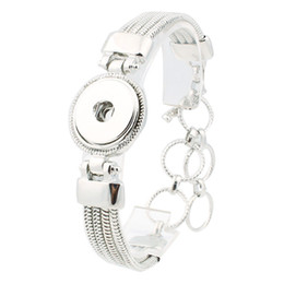 Wholesale Mens Button Jewelry - Noosa Charms Snap Button Bracelet Alloy Smooth snake Chain Pulseira for Women Mens DIY 18MM Snap Button bangle brand jewelry for women