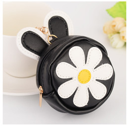 Wholesale Ear Rings Star - Cute Little Daisy Girl PVC Leather Rabbit Ear Car Key Chain Mini Wallet Purse Bag Pendant Ornaments Gift Key Ring Jewelry