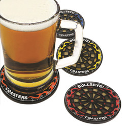 Tableros de dardos online-Venta al por mayor- 4Pcs / set Redondos Bullseye Coasters Dart Board Drink Bottle Beer Beverage Cup Mats