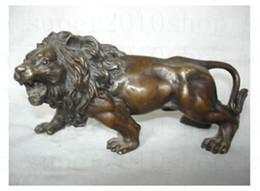 Wholesale Art Bronze Sculpture - Sculpture&Carving Bronze coffee Fierce Lions Wild Animals Figure Statue gift