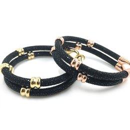 Wholesale 5mm Beads Black Bracelet - Beichong Charm 5MM Black Stingray Leather Cords Bracelet With Rose Gold Beads Has Gift Box Luxury Stingray Leather Bracelet For Men