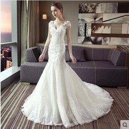 Wholesale Cheap Slender - 2017 New style south Korean v-neck A shoulder is a slender shoulder A fishtail dress for the wedding gown cheap bride white fishtail dress