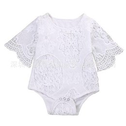 Wholesale Shorts Sleeves Rompers White - 2017 Ins News Baby Girl White Lace Rompers Infant Toddlers Floral Fly Sleeve One Piece Jumpsuit