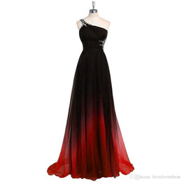 Wholesale Empire One Shoulder Evening Dress - 2017 Gradiant Color Evening Dresses One shoulder Empire Waist Chiffon Black Burdundy Designer Long Prom Formal Pageant Dress