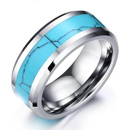 Wholesale Turquoise Rings Wholesale China - Turquoise Tungsten Carbide Ring Wholesales Promotion with low prices a month only 8mm fashion jewelry ring for men top sales