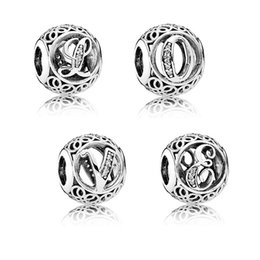 Wholesale 925 Bracelet Chinese - 925 Sterling Silver Bead Crystal Hollow Chinese Knot Letter DIY Charms Pendant Fit Pandora Bracelets & Bangles Jewelry