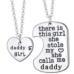 Wholesale Wholesale Dad Gifts - 2Pcs Silver Letter Heart Tag Necklaces Daddy Daughter Dad Father Chain Girl Gift