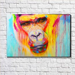 Wholesale Wall Street Prints - GRAFFITI PAINTING ape gorilla Rainbow STREET ART Oil Painting Print on Canvas Wall Decor Canvas Poster Pictures Painting for Living Room