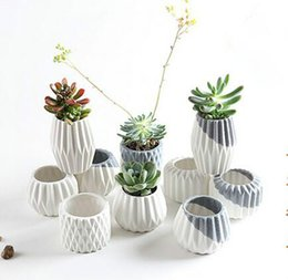 Wholesale Small Ceramic Flower Pots Wholesale - Ceramic Flowerpot Vases for Small Plants Home Decorative Flower Pots Ceramic Vase for Wedding Party Office DHL