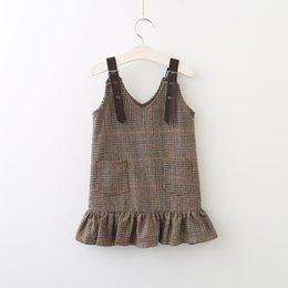 Wholesale Kids Pocket Dress - Girls Plaid Suspender Dresses 2017 Baby Girl Fashion Pocket Dress Kids Girls Autumn Clothing baby clothes