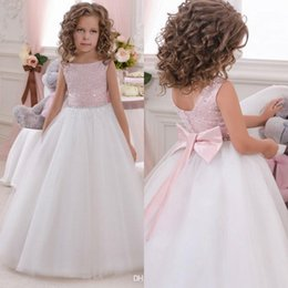 Wholesale Knitted Robes - 2017 Pink Flower Girl Dresses Scoop Sleeveless Floor Length Tulle knitted Boho Kids Wedding Party Robe De Soiree