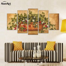 Wholesale Pot Painting Pictures - 5 Panel Canvas Art Europe and the United States home potted Flower Canvas Print Paintings Home Decoration Framed for Living Room