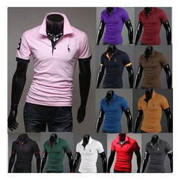 Wholesale Purple Golf T Shirt - Men's Polo T-shirts Hot Sale Fawn Embroidery Short-sleeves Golf Lapel Sports Polo T-shirts US Size:XS-L