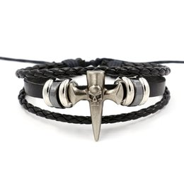 Wholesale Leather Braided Bracelet Personalize - Retro tide leather bracelets for men alloy skull cross braided leather hand rope personalized jewelry accessories