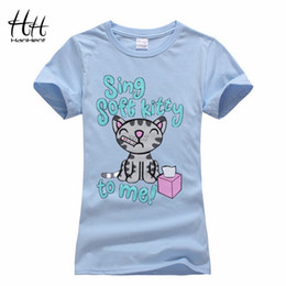 Wholesale Wholesale Printed Pet T Shirts - Wholesale- HanHent Women The Big Bang Theory Soft Kitty Female TShirt Cat Print Pet T shirt Couple Shirt paired lovers T-shirt with a cat