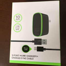 Wholesale Dc24v Ac - 2 in 1 For Belkin EU US Plug 10W 2.1A 2 Port Dual Two USB Home Wall Charger + USB Cable For Samsung S6 iphone 7 6S With Retail Box