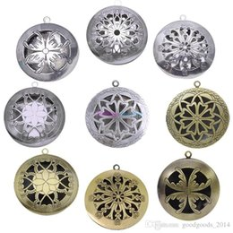 Wholesale 12 Antique Plates - 12 Style Antique Silver Aromatherapy Lockets Essential Oil Diffuser Hollow Necklace Locket Diffuser Lockets Perfume Lockets b071