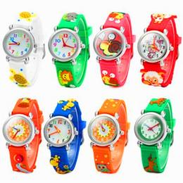 Wholesale Little Girls Gifts - 3D Cartoon Children Watch Kids Students Cute Design Silicone Quartz Analog Wristwatches Teacher Little Girl Boy Gift Watches