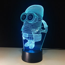 Wholesale Christmas Minion Usb - 3D Minions Illusion Night Lamp 7 RGB Colorful Lights USB Powered with AA Battery Bin Touch Button Wholesale Dropshipping
