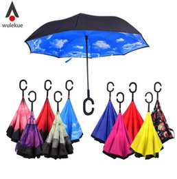 Wholesale Nylon Long Tube - Windproof Reverse Folding Double Layer Inverted Chuva Umbrella Self Stand Rain Protection C-Hook Hands For Car