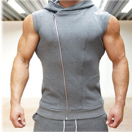 Wholesale Hooded Singlets - Wholesale- 2016 New Men Hoodie Brand Sweatshirts Fitness Workout Sleeveless Tees Shirt Cotton Vest Singlets Hooded Undershirt