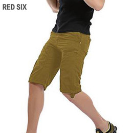 Wholesale Six Plus - Wholesale-RED SIX New summer cotton mens shorts Casual loose cargo shorts men Work trousers Fashion zipper decorate L189