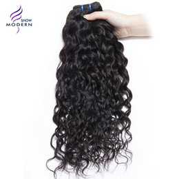 Wholesale Remy Water Wave Weave - Modern Show Brazilian Water Wave Hair Bundles Human Hair Weave Remy Hair Extensions 1 Bundle Natural Black 1B Can be Dyed
