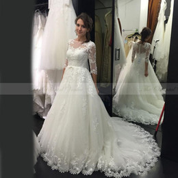 Wholesale Bridal Robes China - Arabic Oriental Wedding Dresses Turkey 2017 Sexy Illusion Neck Court Train Robe de Mariee China Alibaba Bridal Gowns with Sleeves