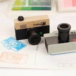 Wholesale Wooden Model Tools - Wholesale- 1Pcs Hot Sale Lovely Korea DIY Wooden retro Camera Rubber Stamps Seal toys Drawing Tools Toys 2 Models 2 Colors Signet
