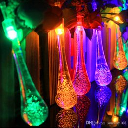 Wholesale Showcases Led Lights - 5M 20LEDs water drop LED solar string lights waterproof outdoor led fairy lights for garden showcase Christmas decor DHL free shipping