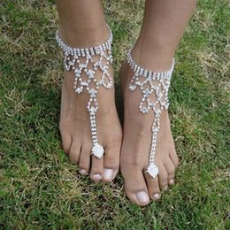 Wholesale Accessories For Foot - 6 Styles Silver Plated Foot Ankle Bracelet For Women Sexy Barefoot Sandals Beach Foot Chain Wedding Accessories Jewelry