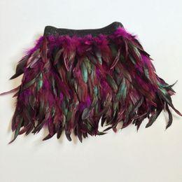 Wholesale Women Dancing Mini Skirts - black peacock ostrich feather mini skirt costume dance woman feathered feathers fringe high waist vestido falda plumas skirts