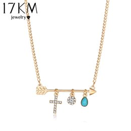 Wholesale Jewellery Crosses Necklace - Wholesale- 17KM Fashion New Turquoise Crystal Cross Necklaces for Women Bohemian Water Drop Arrow Pendant Choker Body Chain Jewellery
