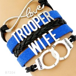 Wholesale Silver Handcuff Bracelet - Infinity Love Trooper Wife Police Blue Line Back The Blue Handcuffs Charm Leather Wrap Cuff Bracelets For Women Men Jewelry