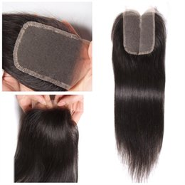 """Wholesale Brazilian Remy Hair Closures - Straight Human Hair Lace Frontal Closure 4*4"""" Natural Color Brazilian Crochet Remy Human Hair Frontal Lace Closures Hair Extensions"""
